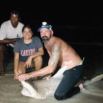 shark fishing on the beach